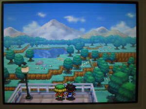 ヒオウギシティの高台の景色と主人公の隣にベル