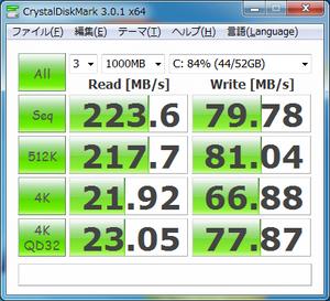 データ読み書き速度(ランダム) シーケンシャル:読み223.6MB 書き79.78MB 512KBランダム:読み217.7MB 書き81.04MB 4KBランダム:読み21.92MB(QD32の場合23.05MB) 書き66.88MB(QD32の場合77.87MB)