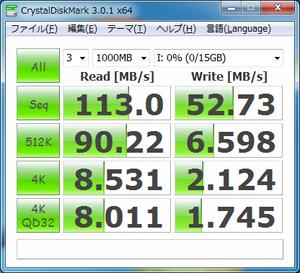 USB2.0接続時の読み書き速度 読み込み113MB/s、書込52.73MB/s