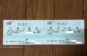 ムーンライトながら指定席券往復分(大垣⇔東京)