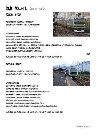 アローラ文字で書かれたE231系/E233系の紹介
