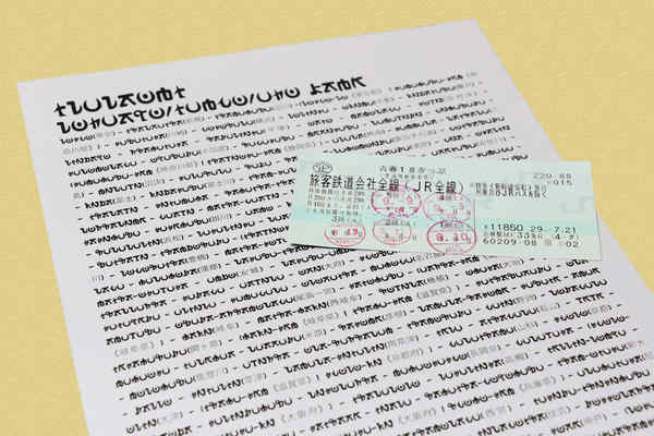 青春18きっぷと駅名がかかれた紙