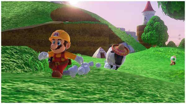 羊に追っかけられるマリオ