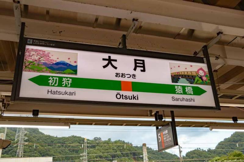 大月駅駅名標