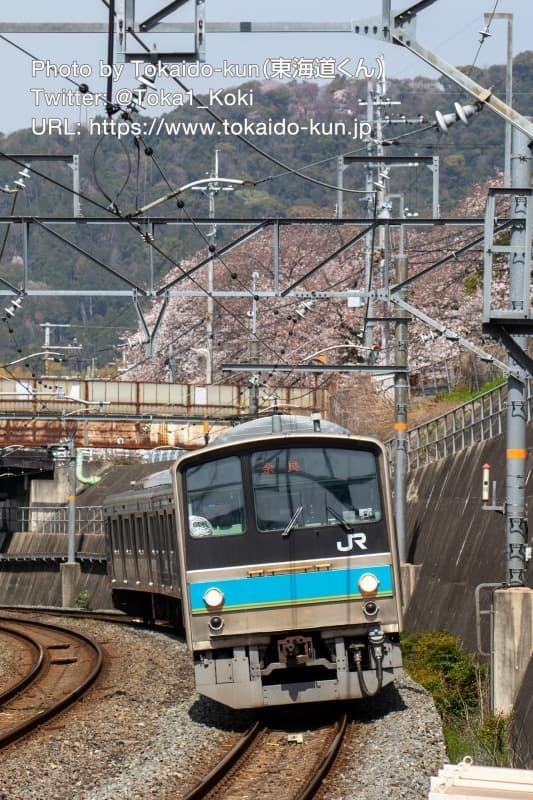 JR藤森駅に入線する205系電車