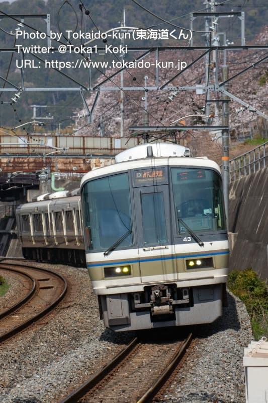 JR藤森駅に入線する221系電車